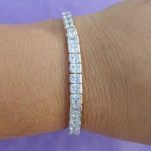 Stunning!! Silver Plated CZ Tennis Bracelet!!
